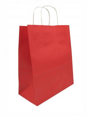 papírová taška červená, bílé kroucené ucho
