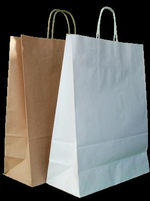 papírové tašky, bílé kroucené ucho