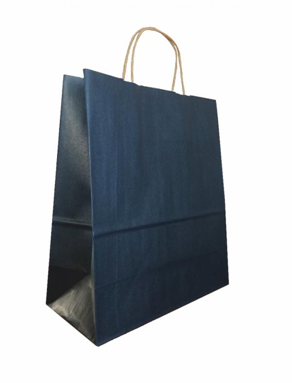 papírová taška modrá, kroucené ucho