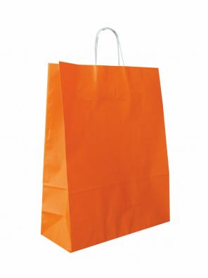 papírová taška oranžová, bílé kroucené ucho