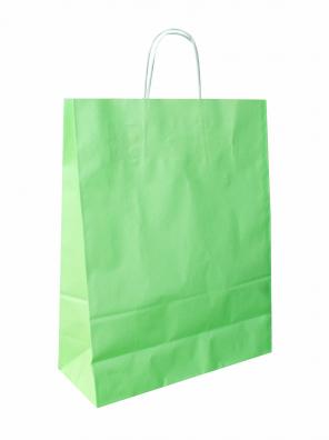 papírová taška zelená, bílé kroucené ucho